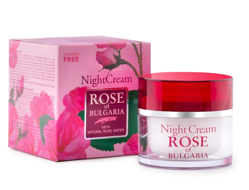 Noční pleťový krém Rose of Bulgaria s mandlovým, makadamovým a pšeničním olejem